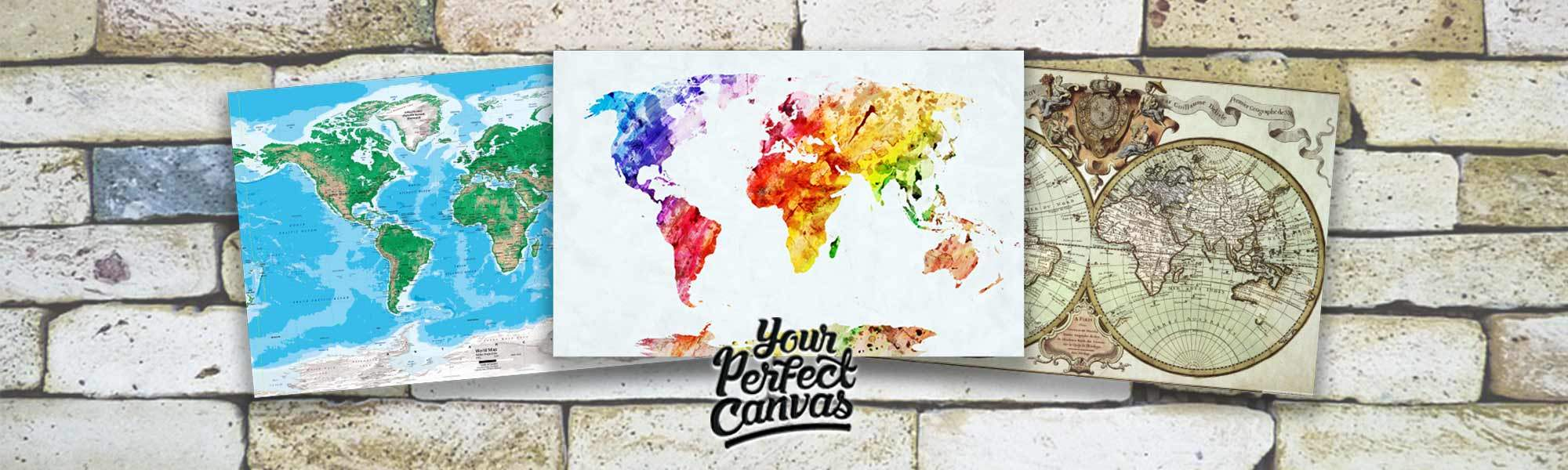 Little Bird A1 or A2 World Map Canvases - A range of Gorgeous Styles from just £10, 83% off